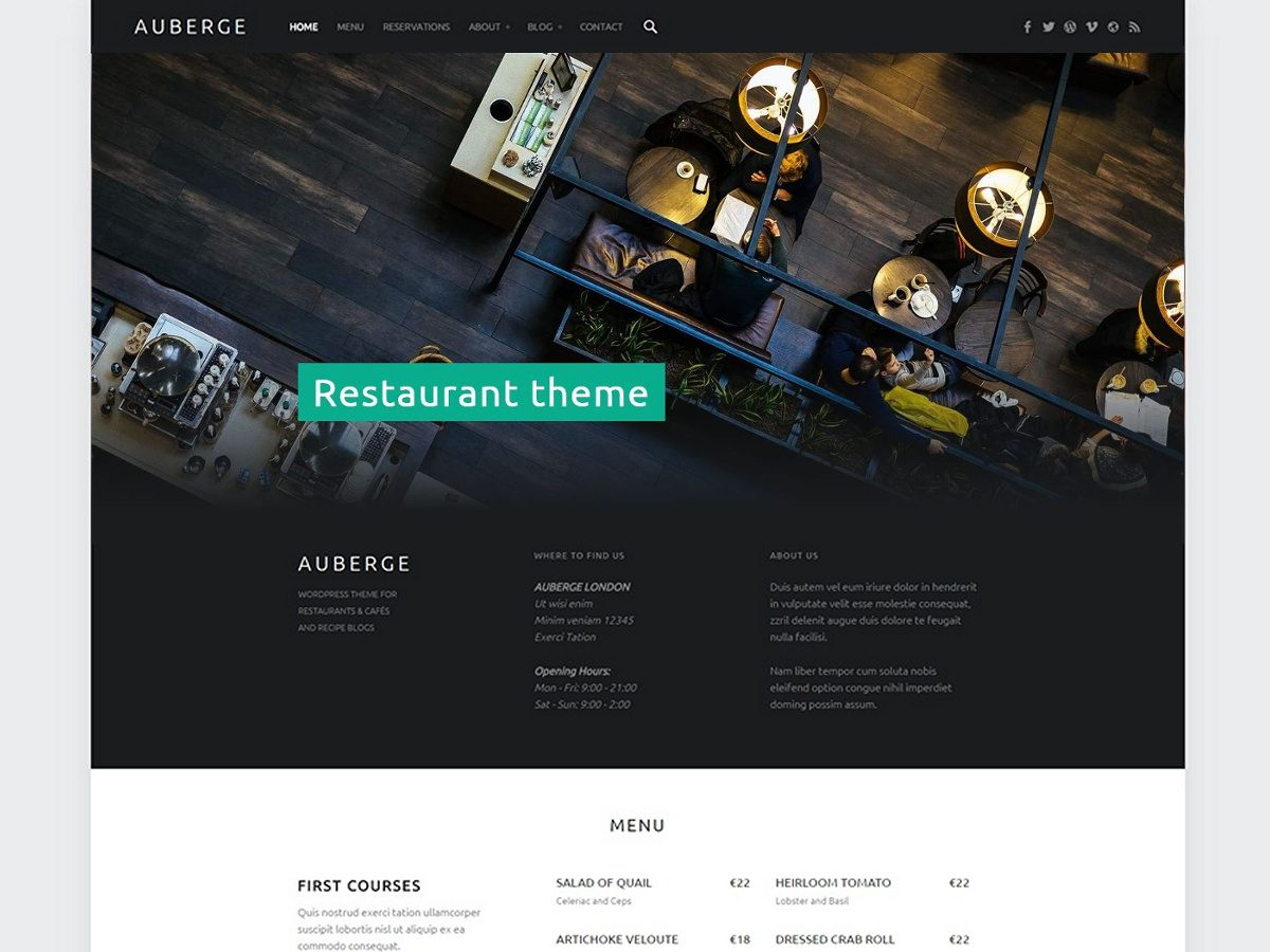 Auberge - Restaurant WordPress theme