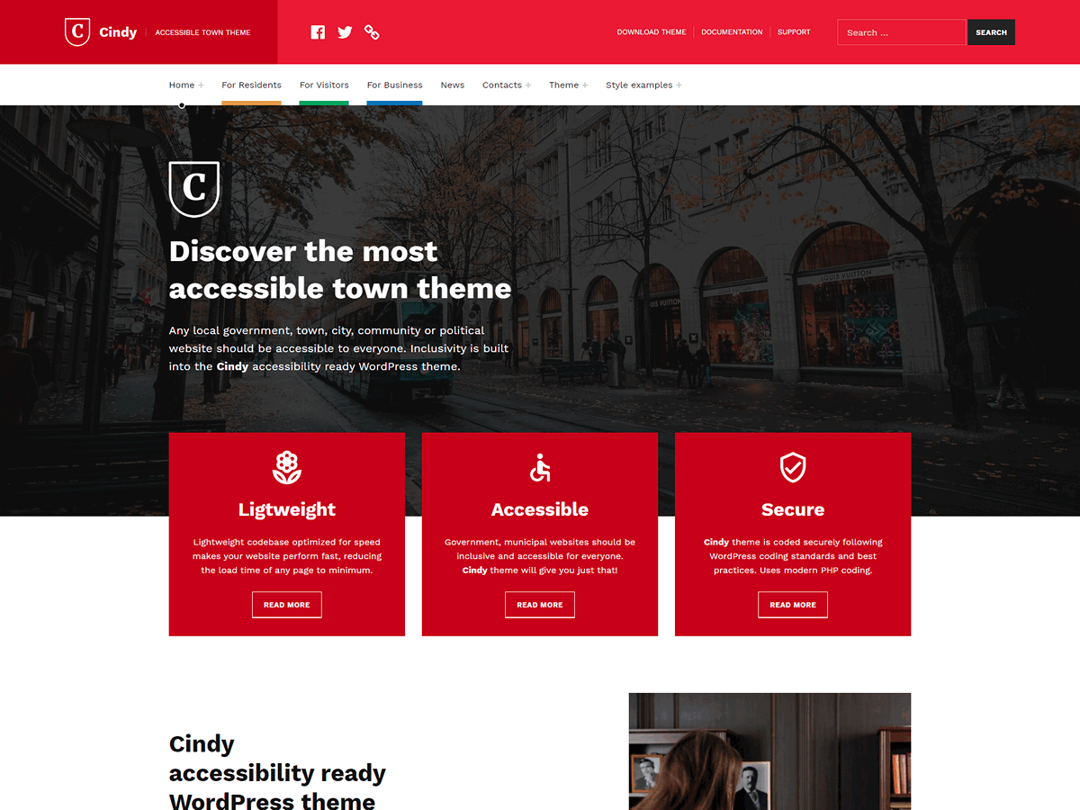 Cindy - Inclusive Accessible Local Government WordPress Theme