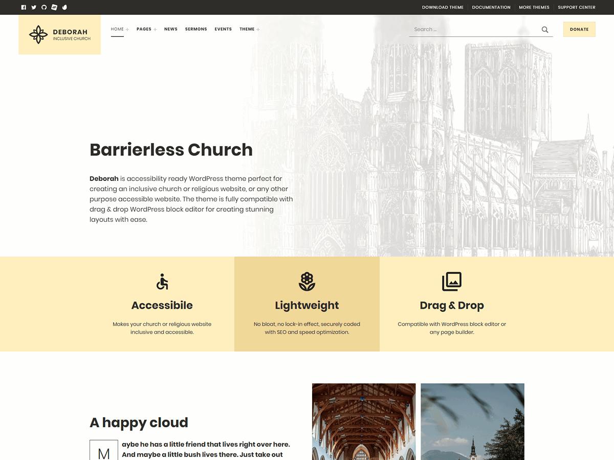 Deborah - Inclusive Accessible Church WordPress Theme