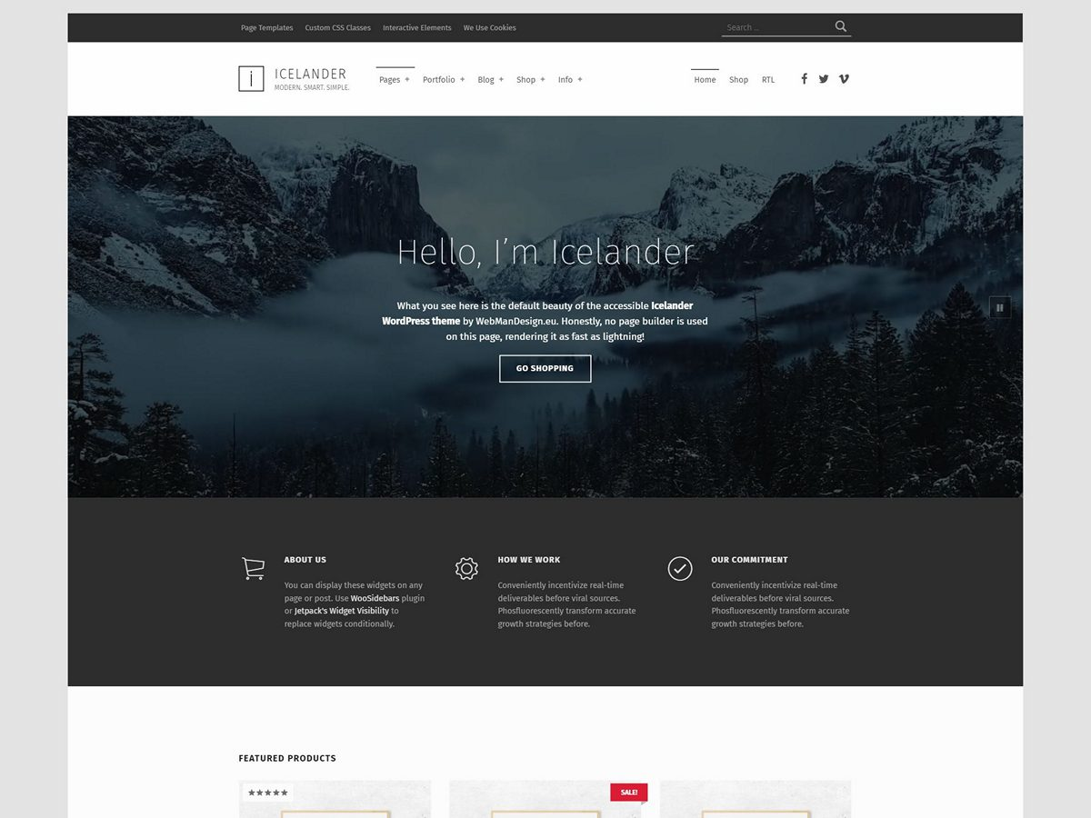 Icelander - Accessible Business Portfolio & WooCommerce WordPress Theme