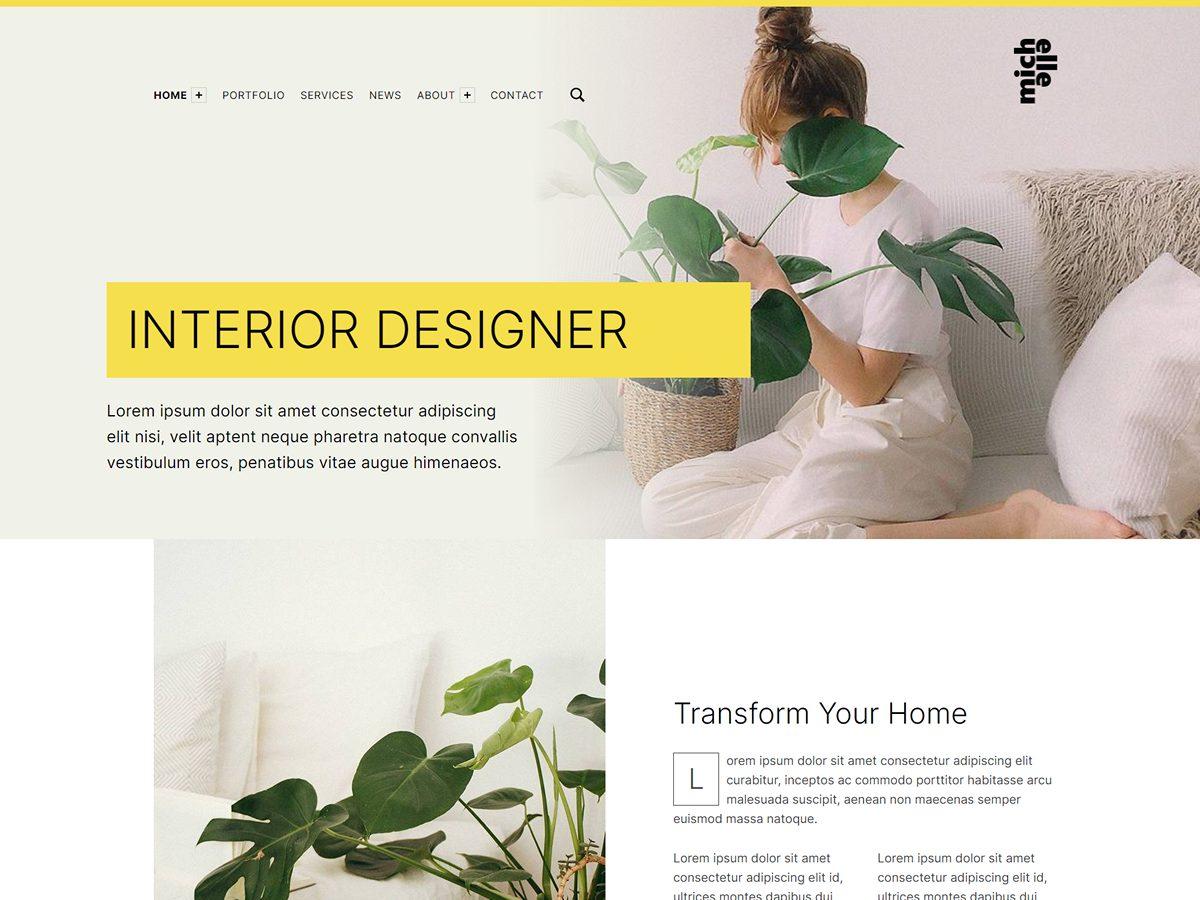 Michelle WordPress theme preview: Interior designer