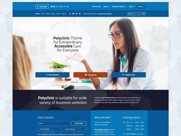 Polyclinic - Accessibility ready medical institution WordPress theme