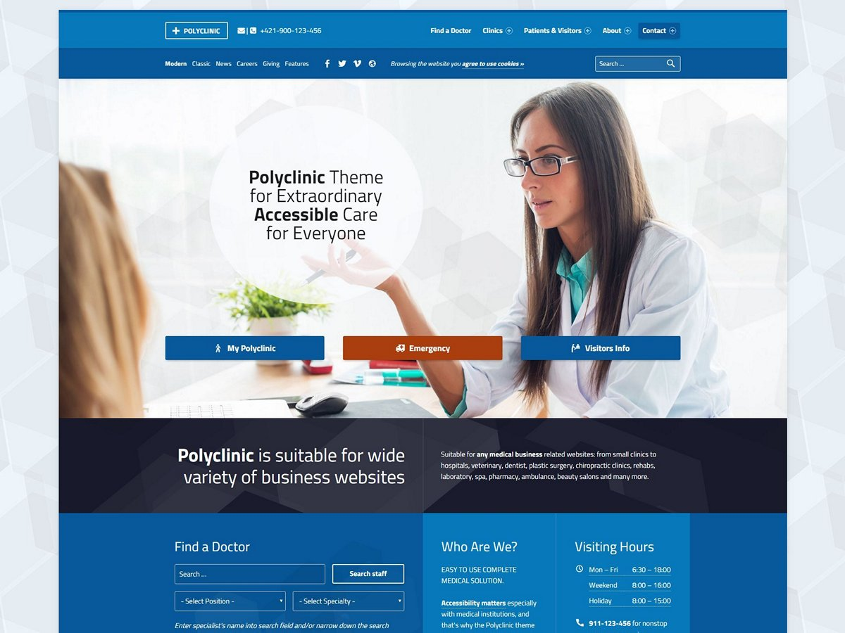 polyclinic accessible medical wordpress theme by webman design
