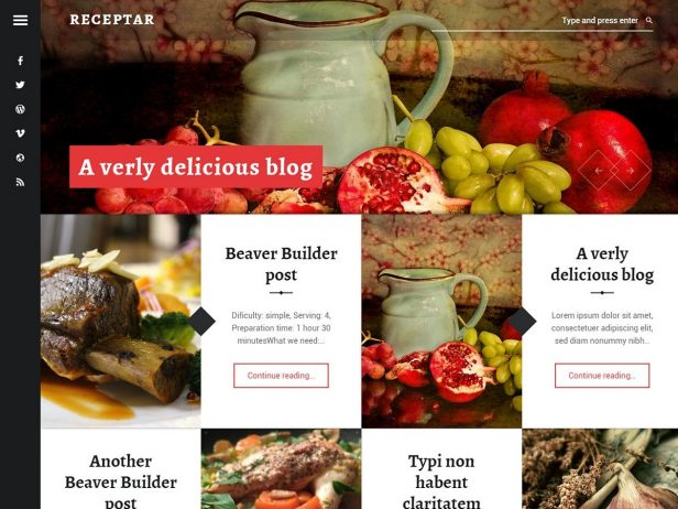 Receptar - Blogging WordPress theme